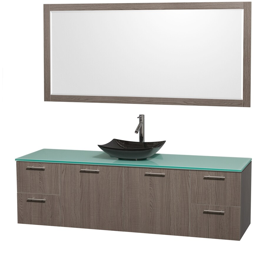 Wyndham Collection Amare Grey Oak Vessel Single Sink Bathroom Vanity with Tempered Glass and Glass Top (Mirror Included) (Common: 72-in x 22-in; Actual: 72-in x 22.25-in)