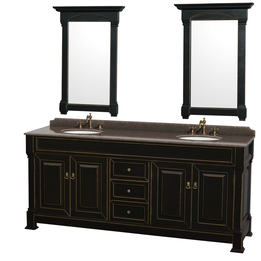 Wyndham Collection Andover Black Undermount Double Sink Oak Bathroom Vanity with Granite Top (Mirror Included) (Common: 80-in x 23-in; Actual: 80-in x 23-in)