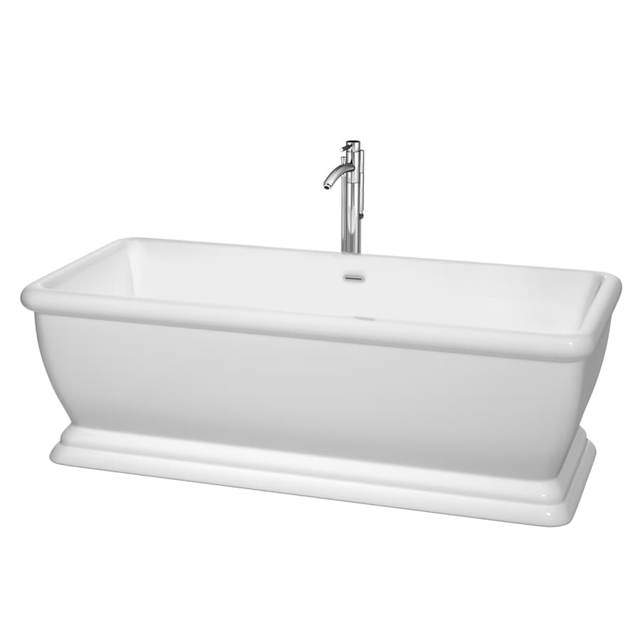 Wyndham Collection Candace White Acrylic Rectangular Freestanding Bathtub with Center Drain (Common: 31-in x 69-in; Actual: 22.75-in x 31-in x 68.5-in)