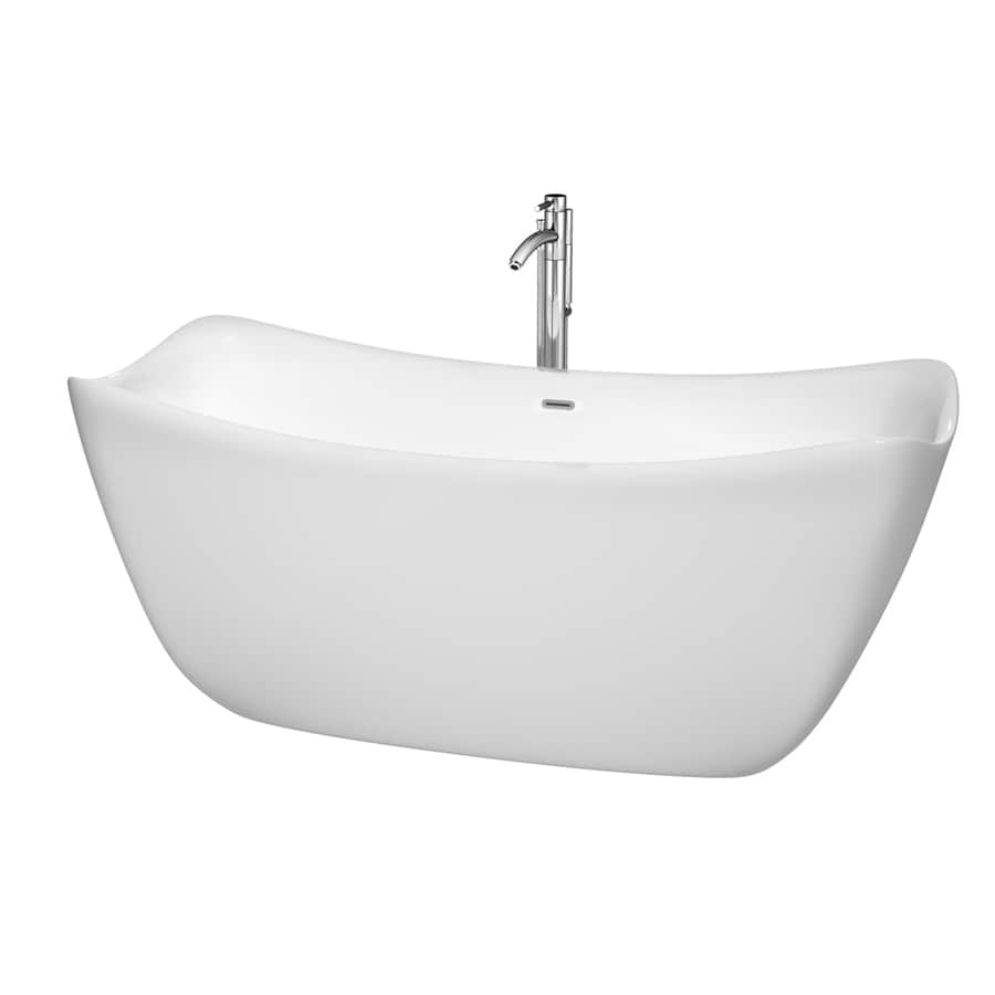 Wyndham Collection Donna White Acrylic Rectangular Freestanding Bathtub with Center Drain (Common: 30-in x 67-in; Actual: 28-in x 30-in x 67-in)