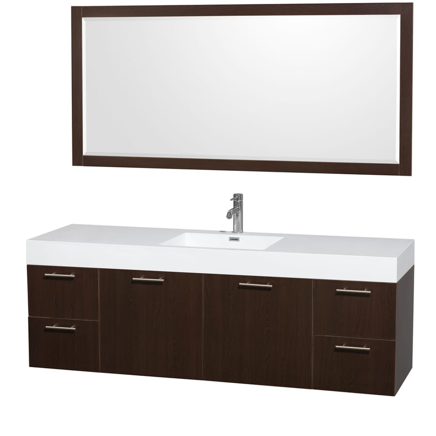 Wyndham Collection Amare Espresso Vessel Single Sink Bathroom Vanity with Acrylic Top (Mirror Included) (Common: 72-in x 22-in; Actual: 71.75-in x 21.75-in)