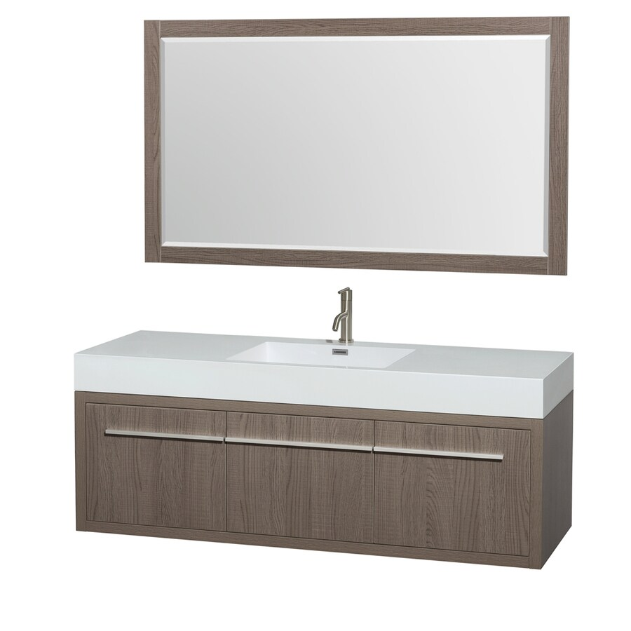 Wyndham Collection Axa Grey Oak Integral Single Sink Bathroom Vanity with Acrylic Top (Mirror Included) (Common: 60-in x 22-in; Actual: 60-in x 21.75-in)