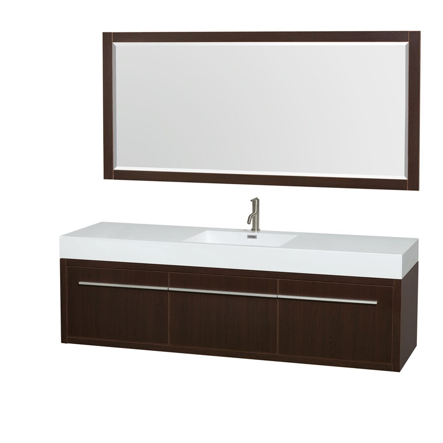 Wyndham Collection Axa Espresso Integral Single Sink Bathroom Vanity with Acrylic Top (Mirror Included) (Common: 72-in x 22-in; Actual: 72-in x 21.75-in)