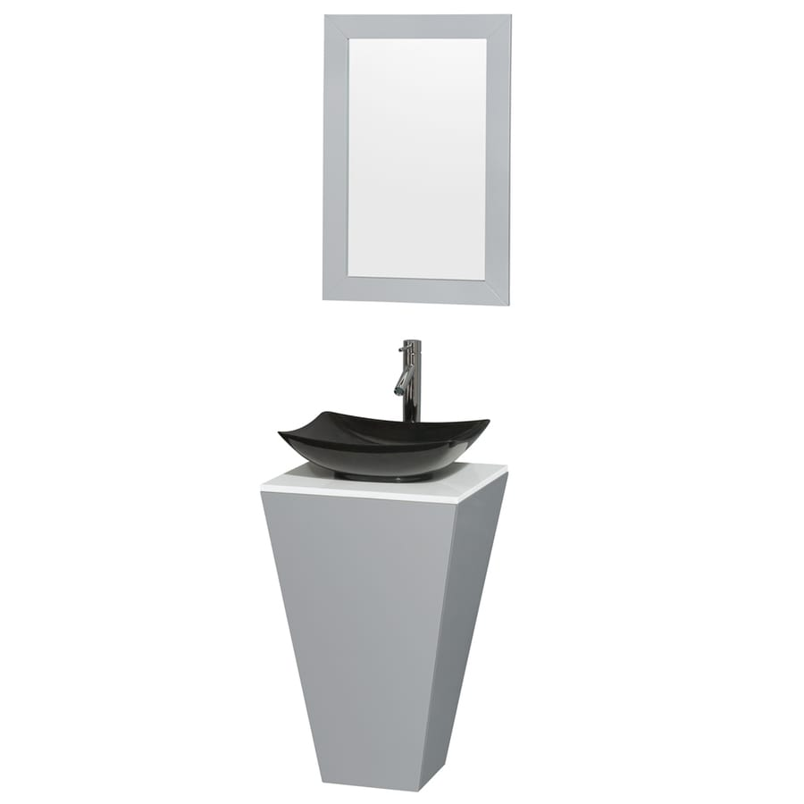 Wyndham Collection Esprit Gray Vessel Single Sink Bathroom Vanity with Engineered Stone Top (Mirror Included) (Common: 20-in x 20-in; Actual: 20-in x 20-in)