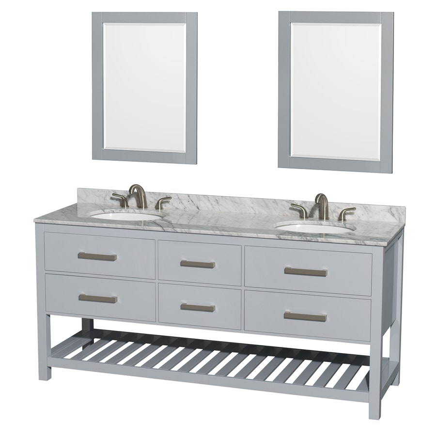 Wyndham Collection Natalie Gray Undermount Double Sink Birch Bathroom Vanity with Natural Marble Top (Mirror Included) (Common: 72-in x 22-in; Actual: 72-in x 22-in)