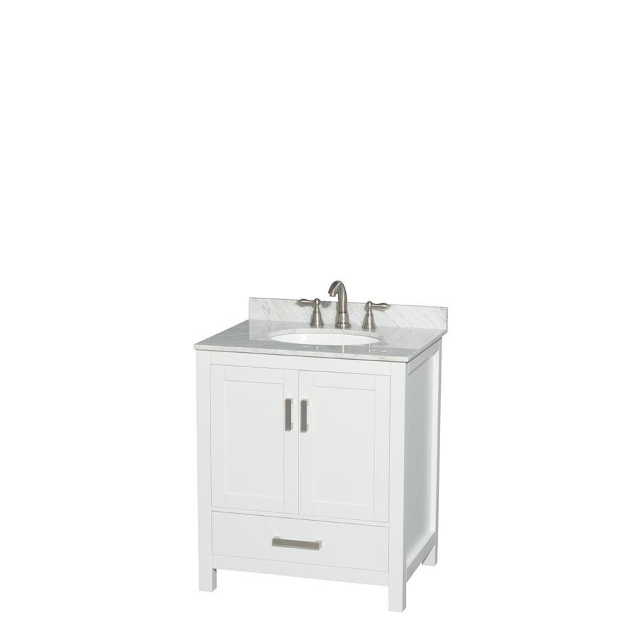 Wyndham Collection Sheffield White Undermount Single Sink Birch Bathroom Vanity with Natural Marble Top (Common: 30-in x 22-in; Actual: 30-in x 22-in)