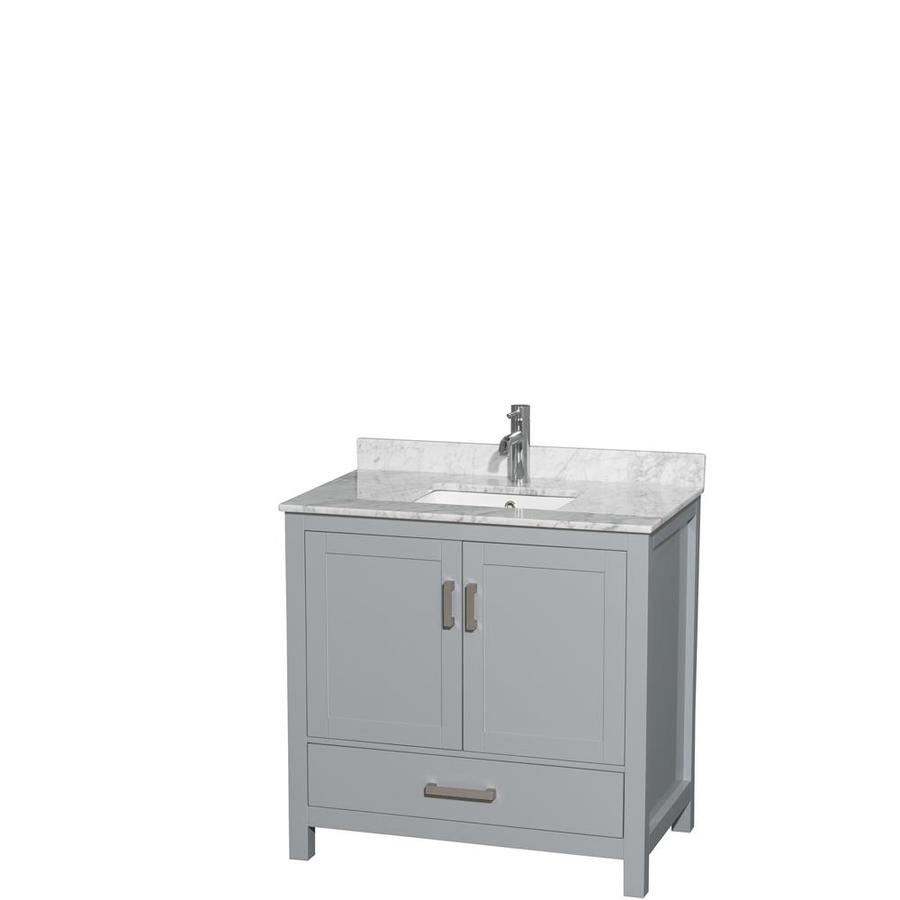 Wyndham Collection Sheffield Gray Undermount Single Sink Birch Bathroom Vanity with Natural Marble Top (Common: 36-in x 22-in; Actual: 36-in x 22-in)