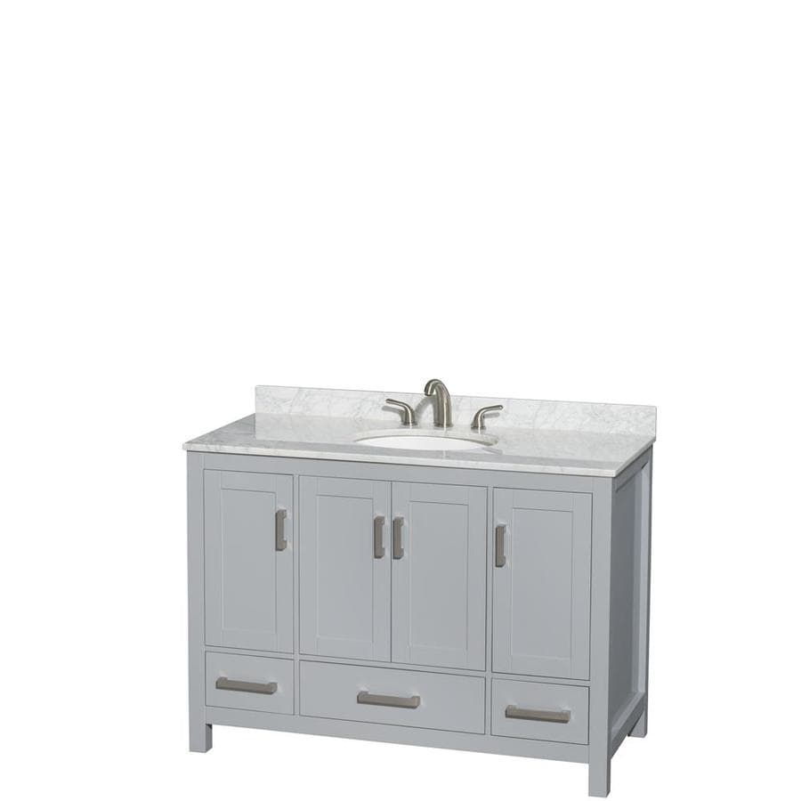 Wyndham Collection Sheffield Gray Undermount Single Sink Birch Bathroom Vanity with Natural Marble Top (Common: 48-in x 22-in; Actual: 48-in x 22-in)