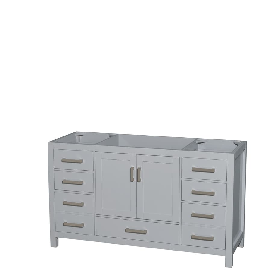 Wyndham Collection Sheffield Gray Transitional Bathroom Vanity (Common: 60-in x 22-in; Actual: 59-in x 21.5-in)
