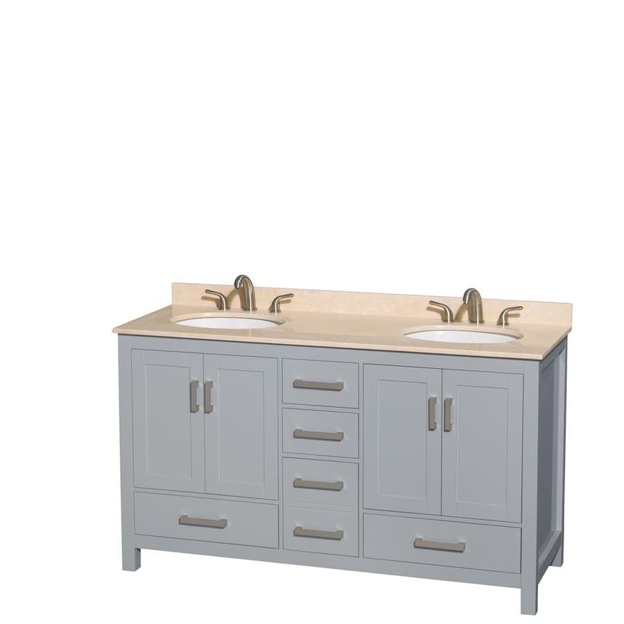 Wyndham Collection Sheffield Gray Undermount Double Sink Birch Bathroom Vanity with Natural Marble Top (Common: 60-in x 22-in; Actual: 60-in x 22-in)