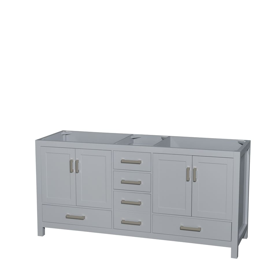 Wyndham Collection Sheffield Gray Transitional Bathroom Vanity (Common: 72-in x 22-in; Actual: 70.75-in x 21.5-in)