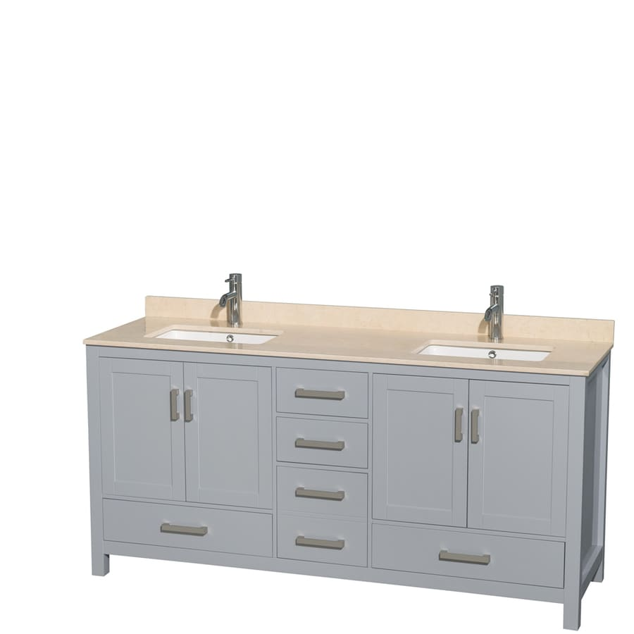 Wyndham Collection Sheffield Gray Undermount Double Sink Birch Bathroom Vanity with Natural Marble Top (Common: 72-in x 22-in; Actual: 72-in x 22-in)