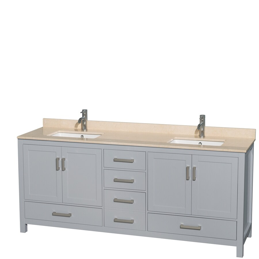 Wyndham Collection Sheffield Gray Undermount Double Sink Birch Bathroom Vanity with Natural Marble Top (Common: 80-in x 22-in; Actual: 80-in x 22-in)