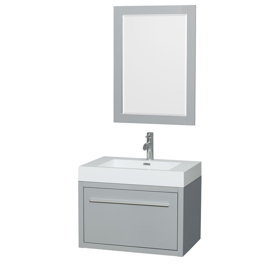 Wyndham Collection Axa Dove Gray Integral Single Sink Bathroom Vanity with Acrylic Top (Mirror Included) (Common: 30-in x 20-in; Actual: 29-in x 20-in)