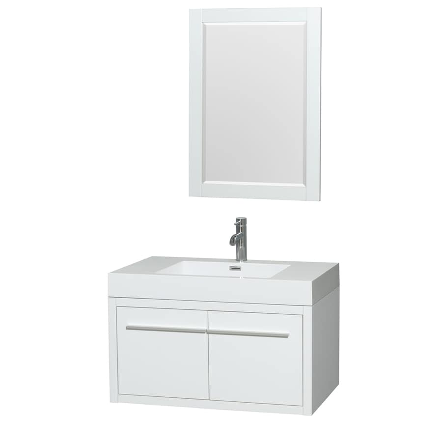 Wyndham Collection Axa Glossy White Integral Single Sink Bathroom Vanity with Acrylic Top (Mirror Included) (Common: 36-in x 21-in; Actual: 35-in x 21-in)