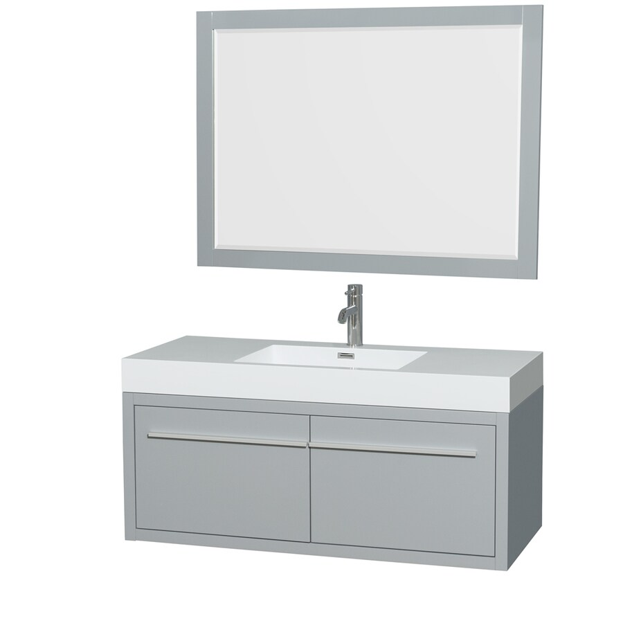 Wyndham Collection Axa Dove Gray Integral Single Sink Bathroom Vanity with Acrylic Top (Mirror Included) (Common: 48-in x 21-in; Actual: 47-in x 21-in)