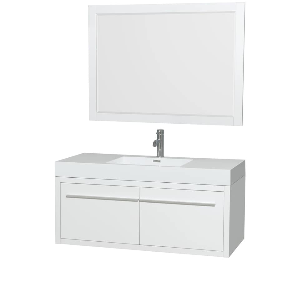 Wyndham Collection Axa Glossy White Integral Single Sink Bathroom Vanity with Acrylic Top (Mirror Included) (Common: 48-in x 21-in; Actual: 47-in x 21-in)
