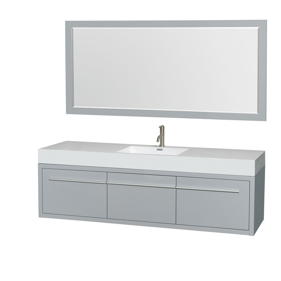 Wyndham Collection Axa Dove Gray Integral Single Sink Bathroom Vanity with Acrylic Top (Mirror Included) (Common: 72-in x 22-in; Actual: 72-in x 21.75-in)