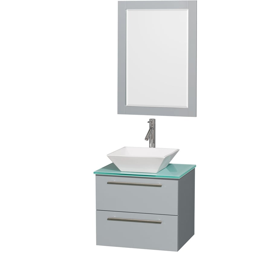 Wyndham Collection Amare Dove Gray Vessel Single Sink Bathroom Vanity with Tempered Glass and Glass Top (Mirror Included) (Common: 24-in x 20-in; Actual: 24-in x 19.5-in)