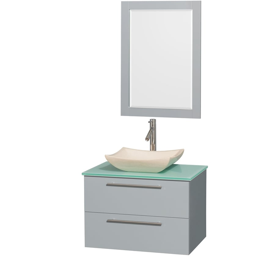 Wyndham Collection Amare Dove Gray Vessel Single Sink Bathroom Vanity with Tempered Glass and Glass Top (Mirror Included) (Common: 30-in x 21-in; Actual: 30-in x 20.5-in)