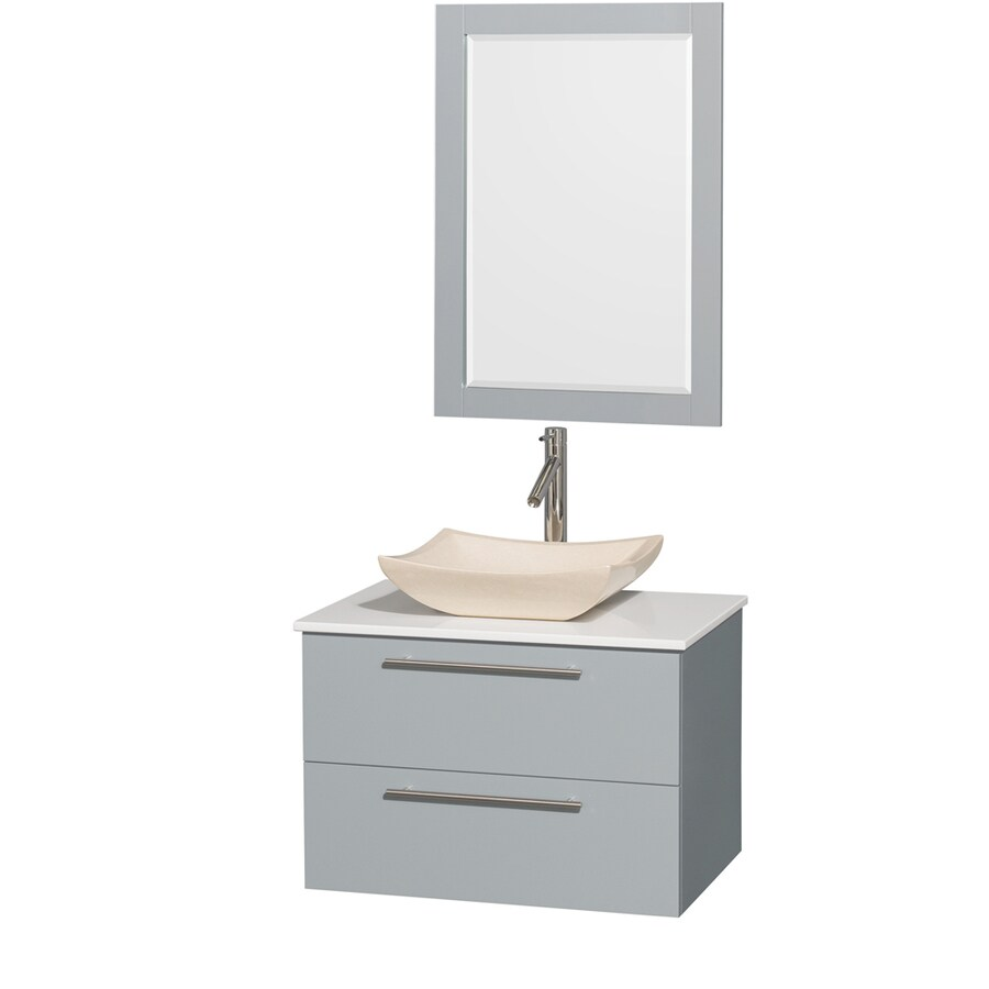 Wyndham Collection Amare Dove Gray Vessel Single Sink Bathroom Vanity with Engineered Stone Top (Mirror Included) (Common: 30-in x 21-in; Actual: 30-in x 20.5-in)