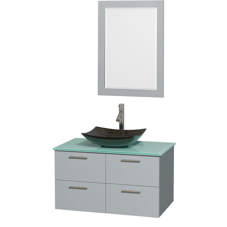 Wyndham Collection Amare Dove Gray Vessel Single Sink Bathroom Vanity with Tempered Glass and Glass Top (Mirror Included) (Common: 36-in x 22-in; Actual: 36-in x 21.5-in)