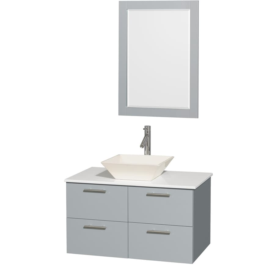 Wyndham Collection Amare Dove Gray Vessel Single Sink Bathroom Vanity with Engineered Stone Top (Mirror Included) (Common: 36-in x 22-in; Actual: 36-in x 21.5-in)