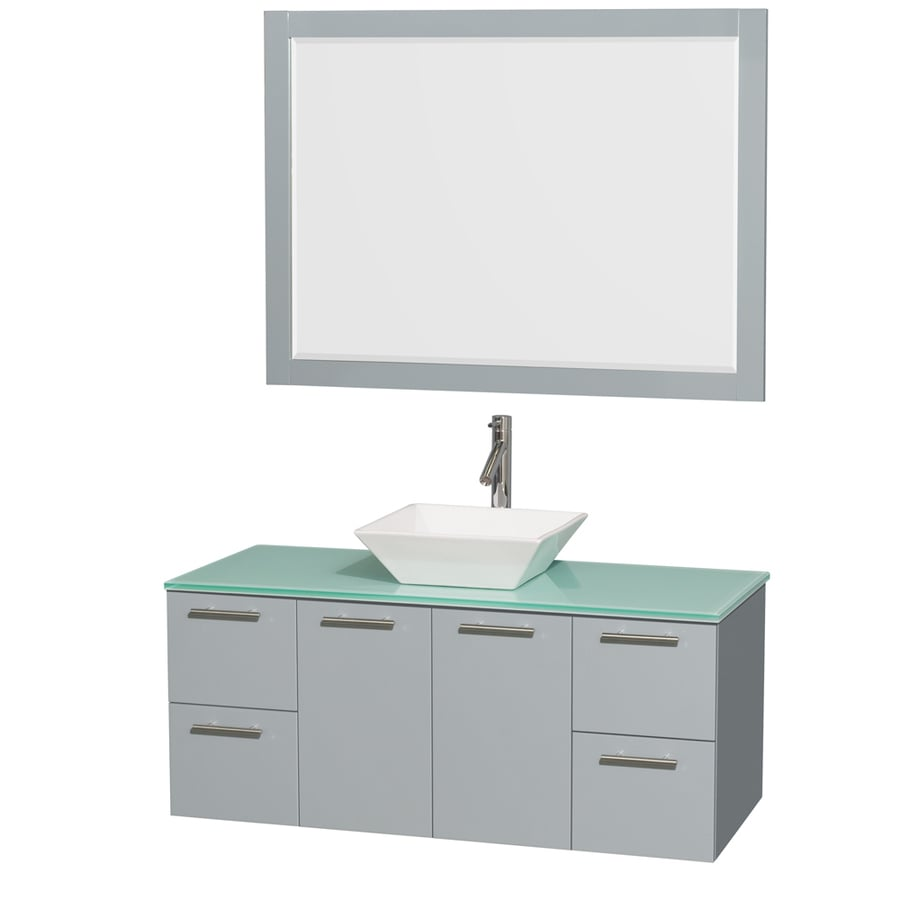 Wyndham Collection Amare Dove Gray Vessel Single Sink Bathroom Vanity with Tempered Glass and Glass Top (Mirror Included) (Common: 48-in x 22-in; Actual: 48-in x 21.75-in)