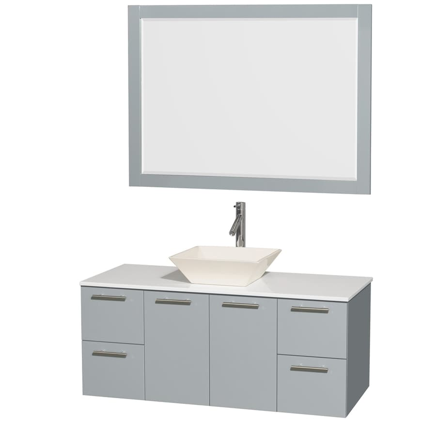 Wyndham Collection Amare Dove Gray Vessel Single Sink Bathroom Vanity with Engineered Stone Top (Mirror Included) (Common: 48-in x 22-in; Actual: 48-in x 21.75-in)