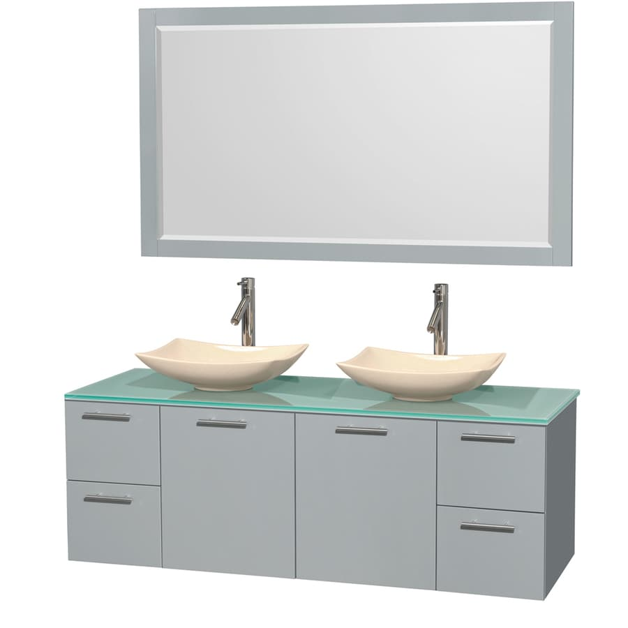 Wyndham Collection Amare Dove Gray Vessel Double Sink Bathroom Vanity with Tempered Glass and Glass Top (Mirror Included) (Common: 60-in x 22-in; Actual: 60-in x 22.25-in)