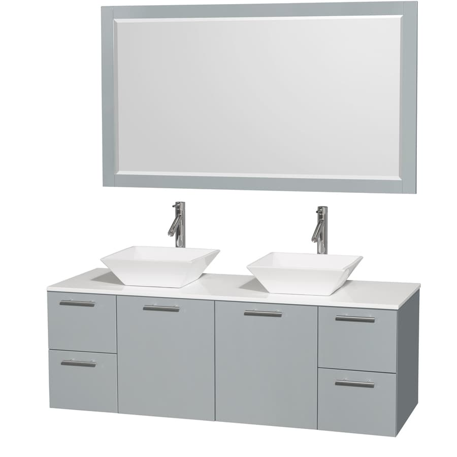 Wyndham Collection Amare Dove Gray Vessel Double Sink Bathroom Vanity with Engineered Stone Top (Mirror Included) (Common: 60-in x 22-in; Actual: 60-in x 22.25-in)