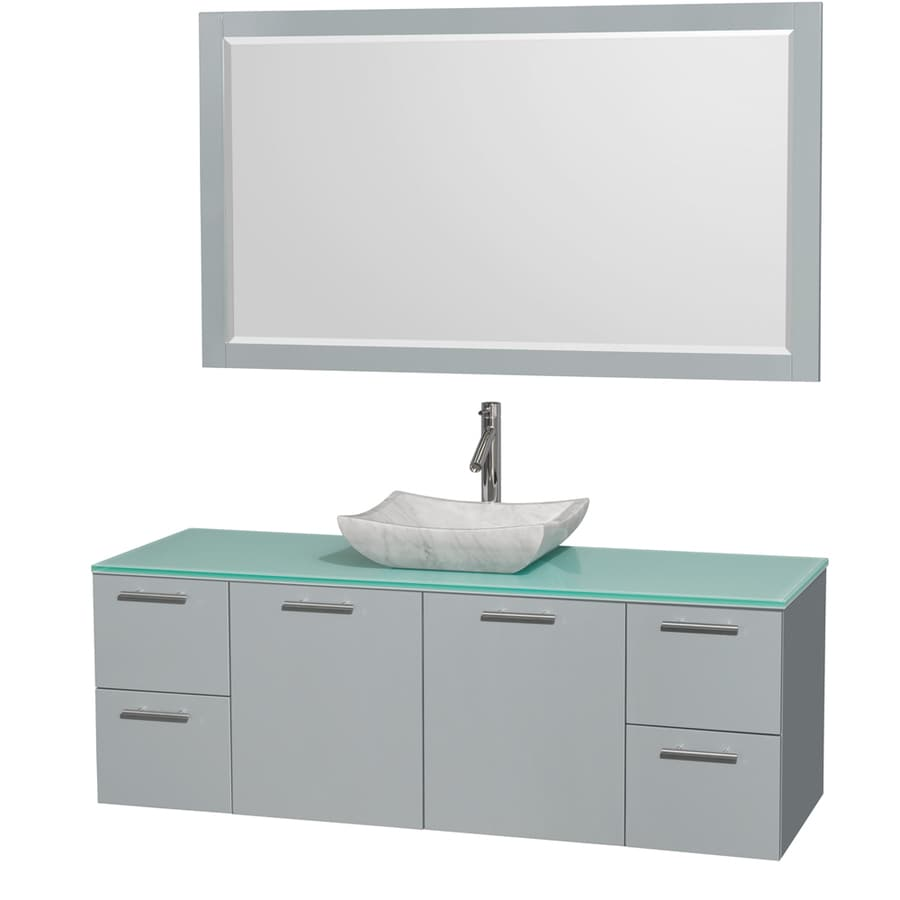Wyndham Collection Amare Dove Gray Vessel Single Sink Bathroom Vanity with Tempered Glass and Glass Top (Mirror Included) (Common: 60-in x 22-in; Actual: 60-in x 22.25-in)