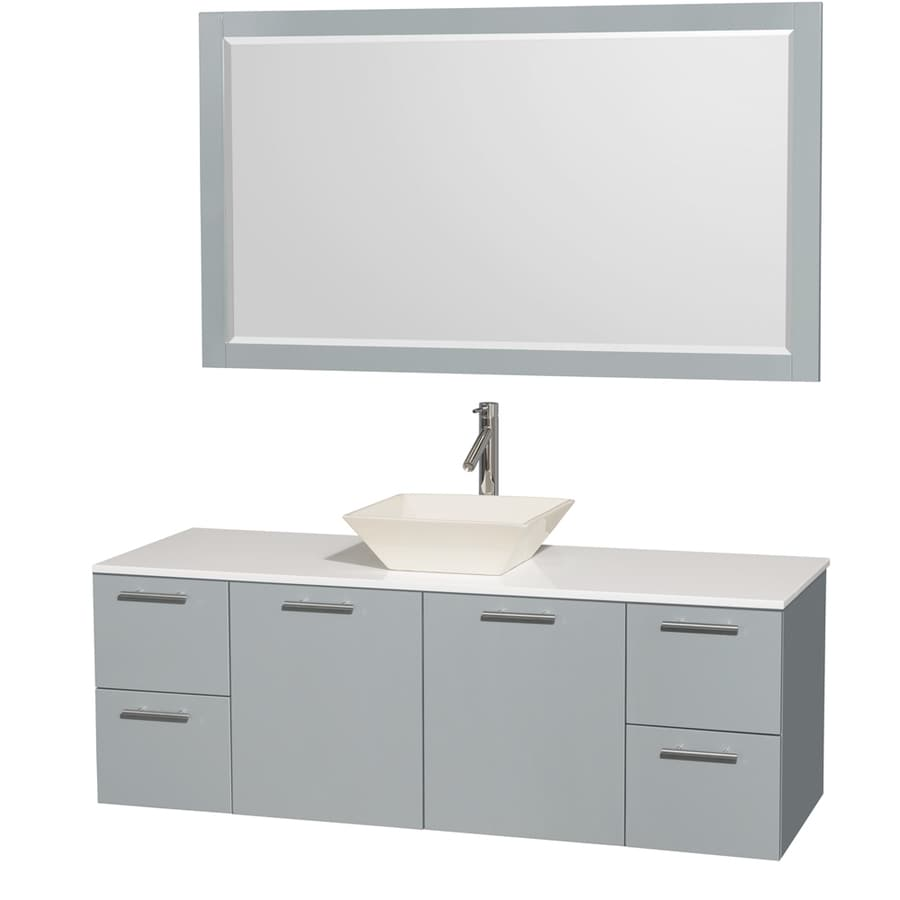 Wyndham Collection Amare Dove Gray Vessel Single Sink Bathroom Vanity with Engineered Stone Top (Mirror Included) (Common: 60-in x 22-in; Actual: 60-in x 22.25-in)