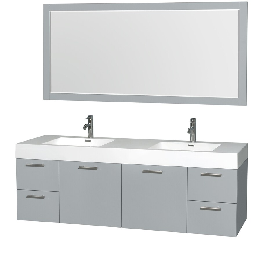Wyndham Collection Amare Dove Gray Integral Double Sink Bathroom Vanity with Acrylic Top (Mirror Included) (Common: 72-in x 22-in; Actual: 72-in x 21.75-in)