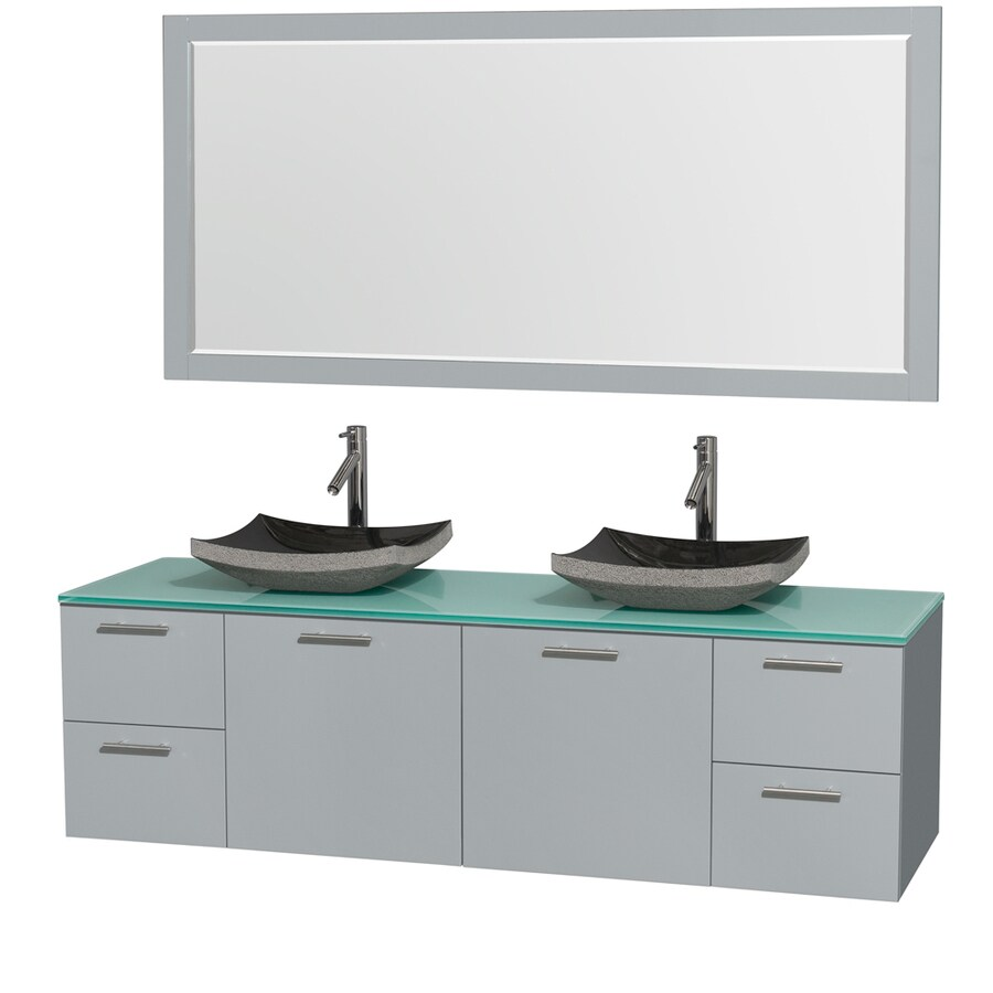Wyndham Collection Amare Dove Gray Vessel Double Sink Bathroom Vanity with Tempered Glass and Glass Top (Mirror Included) (Common: 72-in x 22-in; Actual: 72-in x 22.25-in)
