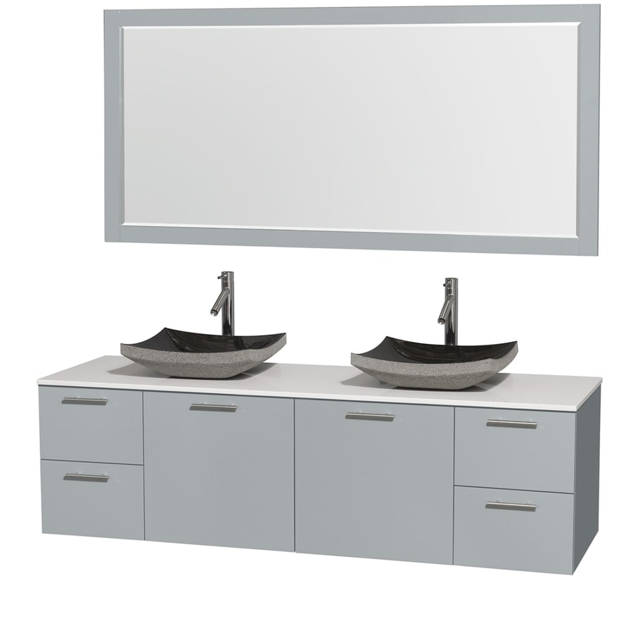 Wyndham Collection Amare Dove Gray Vessel Double Sink Bathroom Vanity with Engineered Stone Top (Mirror Included) (Common: 72-in x 22-in; Actual: 72-in x 22.25-in)