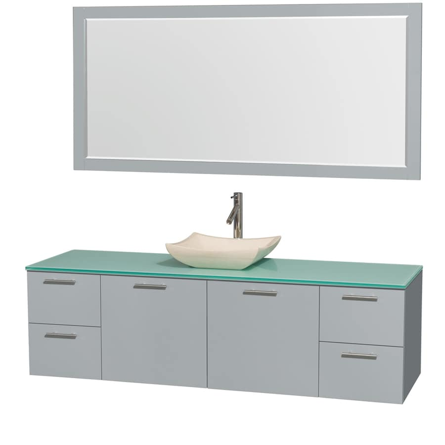 Wyndham Collection Amare Dove Gray Vessel Single Sink Bathroom Vanity with Tempered Glass and Glass Top (Mirror Included) (Common: 72-in x 22-in; Actual: 72-in x 22-in)
