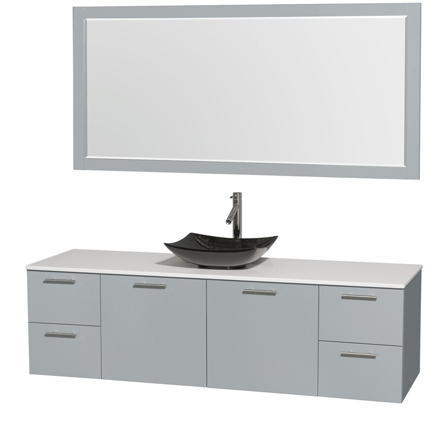 Wyndham Collection Amare Dove Gray Vessel Single Sink Bathroom Vanity with Engineered Stone Top (Mirror Included) (Common: 72-in x 22-in; Actual: 72-in x 22-in)