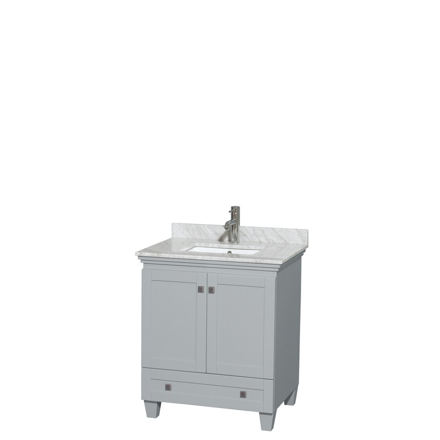 Wyndham Collection Acclaim Oyster Gray Undermount Single Sink Oak Bathroom Vanity with Natural Marble Top (Common: 30-in x 22-in; Actual: 30-in x 22-in)