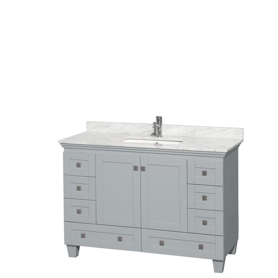 Wyndham Collection Acclaim Oyster Gray Undermount Single Sink Oak Bathroom Vanity with Natural Marble Top (Common: 48-in x 22-in; Actual: 48-in x 22-in)
