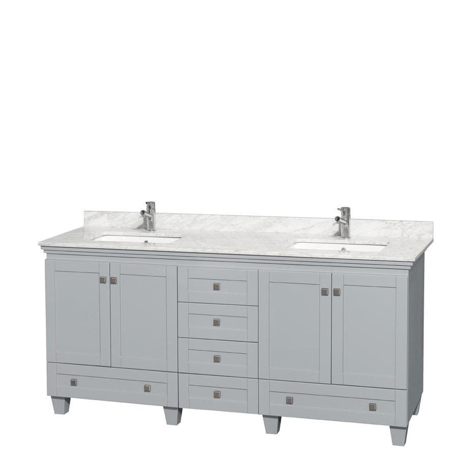 Wyndham Collection Acclaim Oyster Gray Undermount Double Sink Oak Bathroom Vanity with Natural Marble Top (Common: 72-in x 22-in; Actual: 72-in x 22-in)