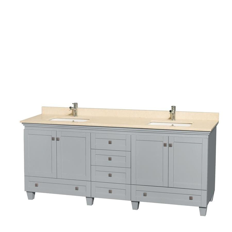 Wyndham Collection Acclaim Oyster Gray Undermount Double Sink Oak Bathroom Vanity with Natural Marble Top (Common: 80-in x 22-in; Actual: 80-in x 22-in)