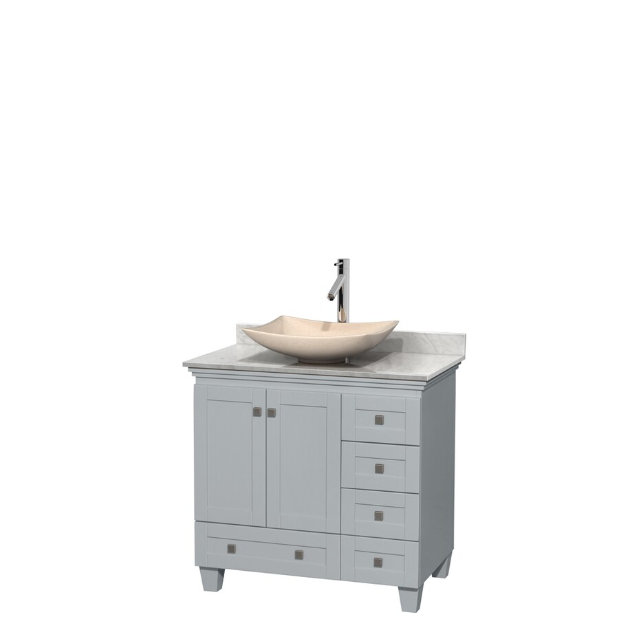 Wyndham Collection Acclaim Oyster Gray Vessel Single Sink Oak Bathroom Vanity with Natural Marble Top (Common: 36-in x 22-in; Actual: 36-in x 22-in)