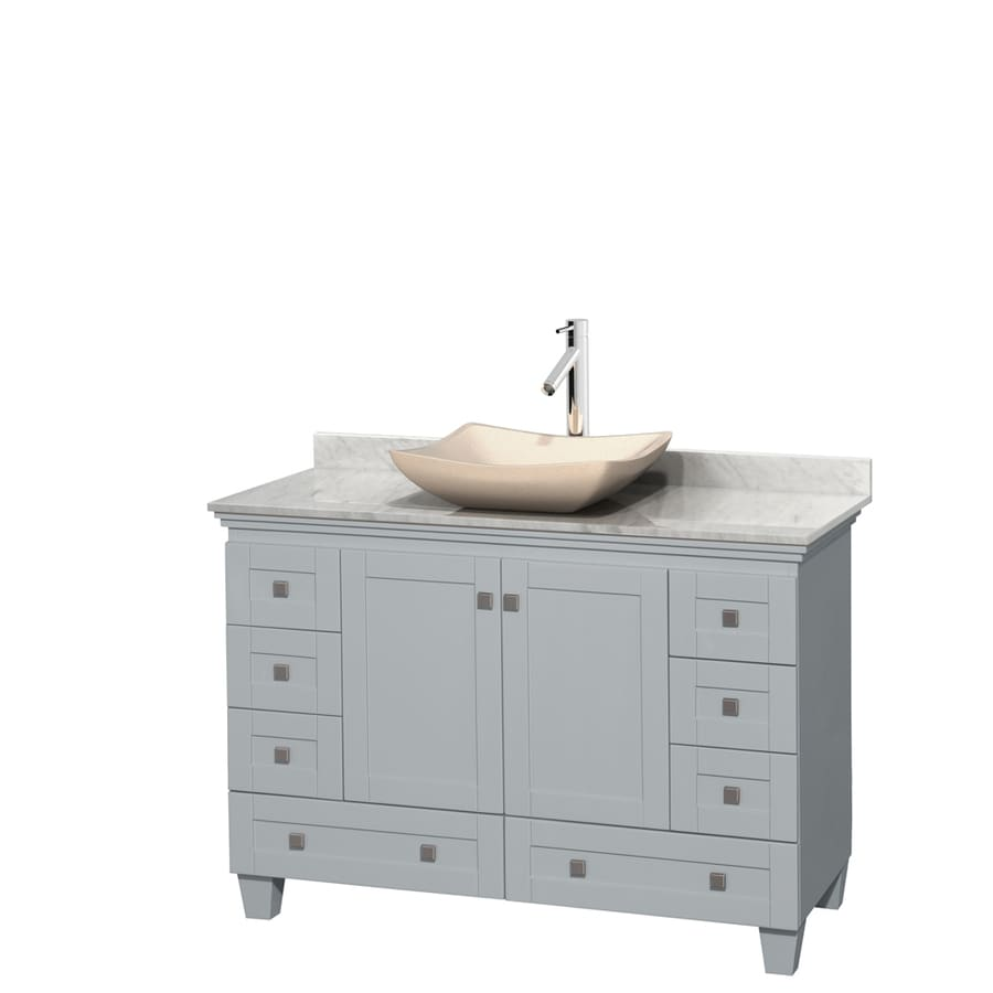 Wyndham Collection Acclaim Oyster Gray Vessel Single Sink Oak Bathroom Vanity with Natural Marble Top (Common: 48-in x 22-in; Actual: 48-in x 22-in)