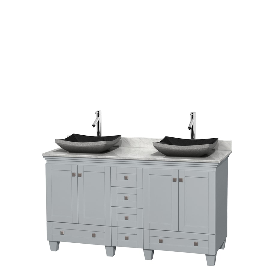 Wyndham Collection Acclaim Oyster Gray Vessel Double Sink Oak Bathroom Vanity with Natural Marble Top (Common: 60-in x 22-in; Actual: 60-in x 22-in)