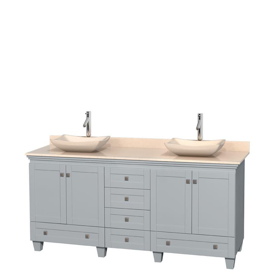 Wyndham Collection Acclaim Oyster Gray Vessel Double Sink Oak Bathroom Vanity with Natural Marble Top (Common: 72-in x 22-in; Actual: 72-in x 22-in)