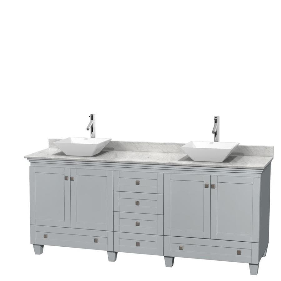 Wyndham Collection Acclaim Oyster Gray Vessel Double Sink Oak Bathroom Vanity with Natural Marble Top (Common: 80-in x 22-in; Actual: 80-in x 22-in)