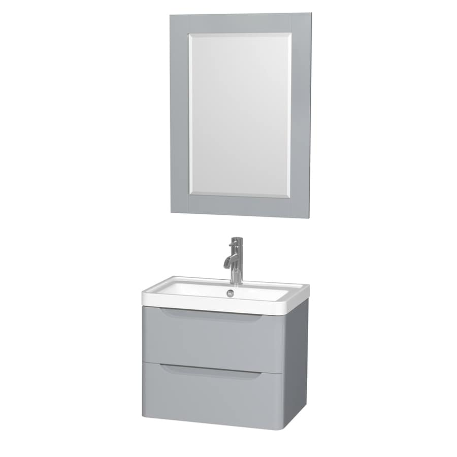 Wyndham Collection Murano Gray Integral Single Sink Bathroom Vanity with Acrylic Top (Mirror Included) (Common: 24-in x 17-in; Actual: 23.5-in x 16.5-in)