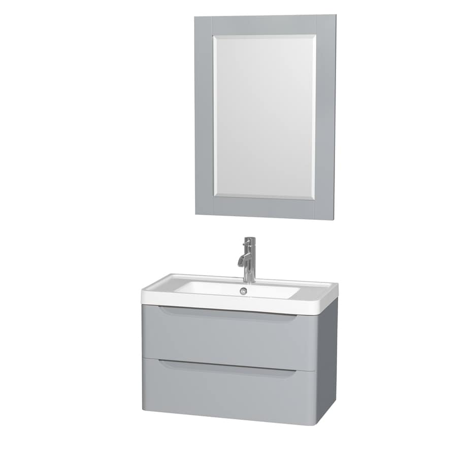 Wyndham Collection Murano Gray Integral Single Sink Bathroom Vanity with Acrylic Top (Mirror Included) (Common: 30-in x 17-in; Actual: 30-in x 16.5-in)