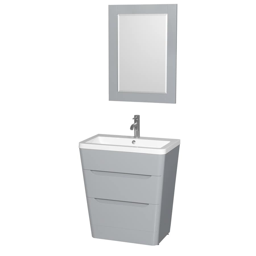 Wyndham Collection Caprice Gray Integral Single Sink Bathroom Vanity with Acrylic Top (Mirror Included) (Common: 30-in x 19-in; Actual: 30-in x 19-in)
